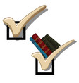 the original bookshelf in the form a checkmark vector image vector image