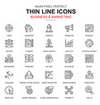 thin line business and marketing icons set vector image