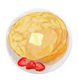 thin pancakes with strawberries lying on plate vector image