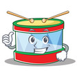 thumbs up toy drum character cartoon vector image vector image