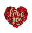 valentines day red roses heart filled and vector image vector image