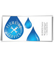 water drops tool business card for plumber vector image vector image