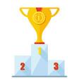 winner podium golden medal vector image