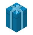 xmas blue gift box icon isometric style vector image