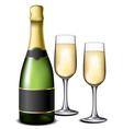 Champagne bottle with glasses vector image