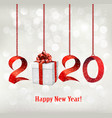 2020 new years background with gift box and red vector image vector image