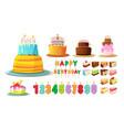 birthday cake happy anniversary party cakes vector image