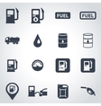 black gas station icon set vector image vector image