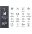 blockchain technology line icons set black vector image