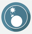 bomb icon on white circle with a long shadow vector image
