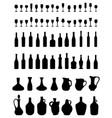 bowls bottles and glasses vector image