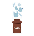brown garbage plastic bin white background vector image