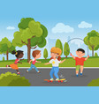 children play in city park summer activity in vector image