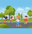 children play in city park summer activity vector image vector image