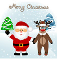 christmas card funny postcard with santa claus vector image vector image