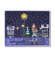 christmas card with santa girl for winter holidays vector image