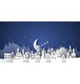 christmas paper cut winter village house landscape vector image
