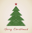 Christmas sketch fir tree vector image vector image