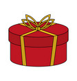 color image cartoon christmas rounded giftbox with vector image vector image