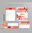 corporate identity design stationery mockup vector image