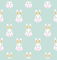 cute bunny baby blue seamless pattern vector image