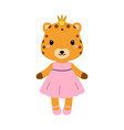 cute jaguar in dress in modern flat style vector image