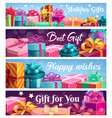 festive presents gift boxes with ribbons vector image vector image
