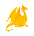 flat yellow colored dragon with wings horns vector image vector image