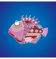 Funny fish on a blue background vector image vector image