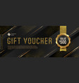 gift voucher template with golden elements vector image