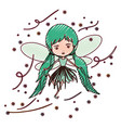 girly fairy flying with wings and pigtails vector image vector image