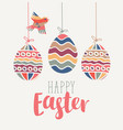 greeting card with easter eggs and bird vector image
