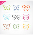 group hand drawn butterfly on white background vector image