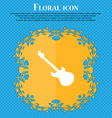 Guitar icon sign Floral flat design on a blue vector image vector image