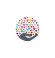 heart hand logo symbol icon love sign vector image