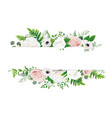 ivory rose blush peach invite card floral border vector image vector image