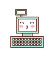kawaii cash register machine keypad display vector image vector image