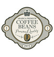 label for coffee beans with crown vector image vector image