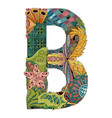 letter b zentangle decorative object vector image