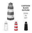 lighthouse icon in cartoon style isolated on white vector image vector image