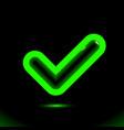 luminescent green checkmark icon tick symbol vector image vector image
