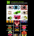mega collection of geometric abstract backgrounds vector image vector image