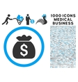 Money Bag Icon with 1000 Medical Business Symbols vector image vector image