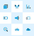 multimedia icons colored set with categories zoom vector image vector image