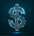 Neon symbol of dollar circuit board vector image