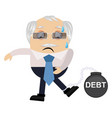 old man in debt on white background vector image