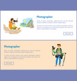 photographers with cameras internet banners set vector image vector image