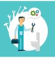 plumber repairing a toilet vector image vector image