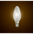 Realistic lit light bulb isolated on black vector image