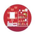 Retro interior with red walls in a circle vector image vector image